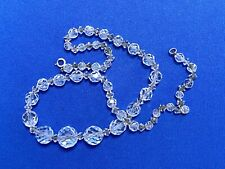 Vintage Cut Faceted Crystal Bead Art Deco w/Sterling Silver Clasp Necklace