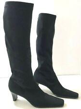 SESTO MEUCCI Yannik Womens 6.5M Knee High Boots Black Fabric Square Toe