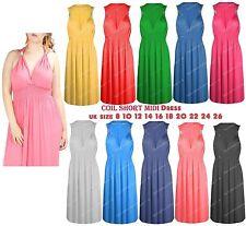 Women's Ladies Stretch Spring Coil Sleeveless Grecian Short Mini Dress Plus Size