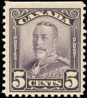 Mint NH Canada 1928 F+ 5c Scott #153 King George V Scroll Stamp