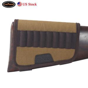 Tourbon Tactical Rifle Cartridges Carry Gun Bullet Holder Buttstock Cover Brown