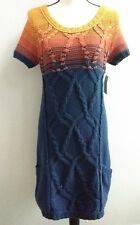 Free People Sweater Dress Cable Knit Ombre Sunset Short Sleeve Size Med New Tags