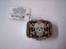Pill Box, Candy Skull Design, Black, 2 Compartments, Brand New