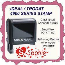 Girl's Name, w/ hearts & stars, Trodat Printy Custom, small size Self-Ink Stamp
