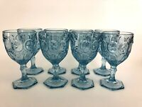 8 Mid-Century Modern light blue pressed glass water goblets 1960s