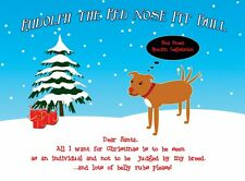 Rudolph the Red Nose Pit Bull Christmas Cards - (Pack of 10)