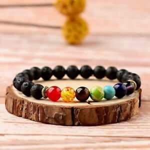 7 Chakra Healing Anti-fatigue Beaded Bracelet 8MM Natural Lava Stone Diffuser
