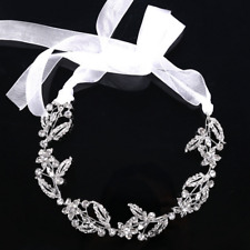 Wedding Bridal Silver Rhinestone Crystal Leaf Hairband Ribbon Headband Headpiece