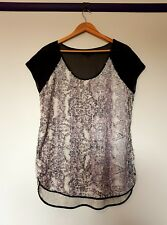Wayne cooper womens size M sheer panel black sequined snakeskin pattern top