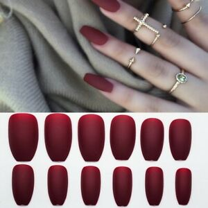 24x Long Matte False Nail Tips Fake Extensions Colour Art Pointed Stylish Classy