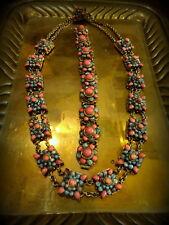 Antique Demi Parure Bracelet Necklace Turquoise & Faux Coral Tibet/Nepal