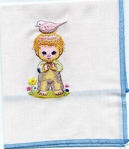 Little boy,bird,  Embroidered  Child Hankie