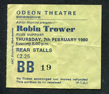 1980 Robin Trower Concert Ticket Stub Birmingham UK Victims of the Fury