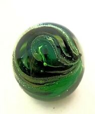 """Glass Paperweight Isle of Wight England Green Bubble Swirl Impressed Seal 3.5"""""""