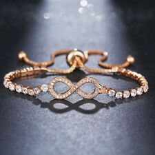 Fashion Infinity 8 Bracelet Adjustable Crystal Jewelry Charm Bangle Silver Gold