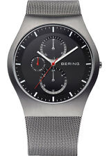 Bering Men 11942-372 Classic Black Dial Gray SS Watch Stainless Steel Mesh Band