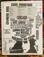 VANCOUVER POP FESTIVAL GRATEFUL DEAD ALICE COOPER 1969 WOODSTOCK Handbill MINT!