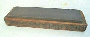 vintage coarse grit oil sharpening stone in fitted wood cheese box