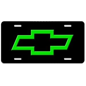 Chevy bowtie art aluminum vehicle license plate car truck SUV tag  black & green