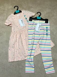 M&S GIRLS 4-5 YEARS TOP AND TROUSER SET SPOT & STRIPED