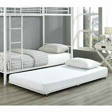 White Twin Roll-Out Trundle Bed Frame with casters for Easy Storage