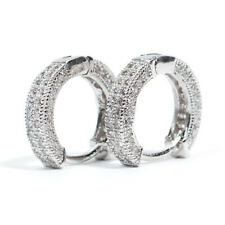 Silver Cz Hoop Huggie Clip On Earrings Mens Small White Gold Plated 925 Sterling