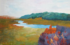 Post impressionist landscape gouache painting signed