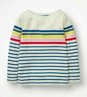 Girls Ex Mini Boden Rainbow Breton T-Shirt Blue Stripe Age 2-16 Yrs RRP £20