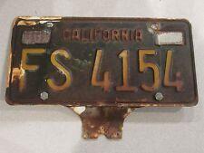 1963-1970 YOM California Trailer License Plate DMV Clear Confirmed CA RV FS4154