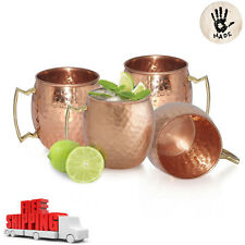 4 Moscow Mule Mug Cup Drinking Hammered Copper Brass Steel Gift Set 18 Oz NEW