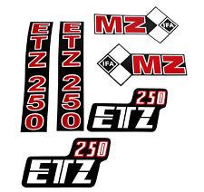 Satz Aufkleber pas. f. MZ ETZ250 Seitendeckel Batteriefach Deckel Telegabel