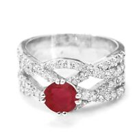 925 Sterling Silver Ring Red Ruby Natural Cocktail Band Size 5-11