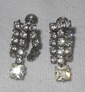 Silver 3 Strand Rhinestone Dangle Screw Back Earrings Costume Jewelry Vintage