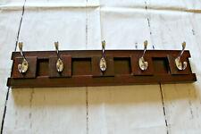 Wooden Wall Coat Rack with Sliding Hooks Entryway Bathroom Bedroom Kitchen Furio