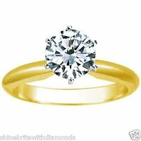 3 Ct Round Cut Solitaire Engagement Wedding Ring Solid 18K Yellow Gold