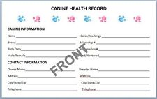 Canine Health Records Set of 8 + Litter Record - Breeder dog puppy vaccination