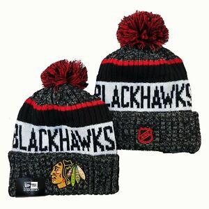 NEW ERA NHL Chicago Blackhawks On field Sideline Beanie Winter Pom Knit Cap Hat