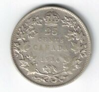 CANADA 1936 DOT VARIETY TWENTY FIVE CENTS QUARTER KING GEORGE V .800 SILVER COIN