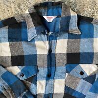 Frostproof Vintage 60s Sanforized Medium Blue Flannel Shirt 15.5 Plaid Workwear