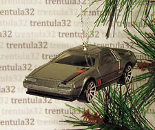 1981 DeLorean DMC-12 Sports Car CHRISTMAS TREE ORNAMENT Grey/Black/Red XMAS