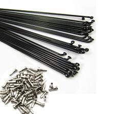 36PCS 14G 2mm Bike Bicycle steel Spoke Spokes w/ Nipples 88~300mm Black J bend
