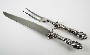 Antique Wallace Sterling Silver Violet Pattern Carving Set 2-Piece Silverware