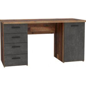 Schreibtisch Arbeitstisch Bürotisch Home Office Old Wood Vintage Beton Grau