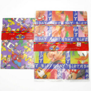 Vintage CLEO DISNEY GIFT WRAP Birthday Mickey Mouse Donald Goofy 3 Pack 6 Sheets