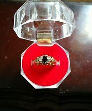 10k Gold Sapphire w Diamond Baguette Accent Ring 3 Grams Sz 6.50