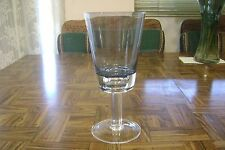 Vintage Pedestal Clear Base Blue Tint Flat Bowl Tall Wine Water Beer Tea Glass