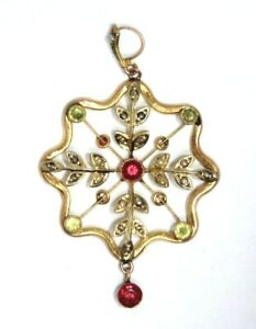 Antique 9 ct gold Edwardian seed pearl red stone & peridot pendant