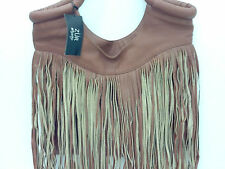 ZUR ART BAG LARGE SOFT BROWN LEATHER FRINGE HOBO PURSE TOTE BOHO HIPPIE $343