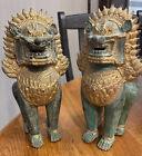 Pair of Antique Bronze Gold Gilt Khmer Foo Dog Lion Singha Dragon Statue