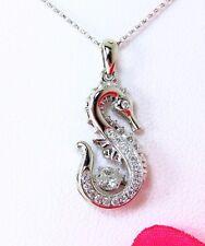 14K White Gold Trembling/ Dancing .45 TCW Diamond Seahorse Pendant w/ chain